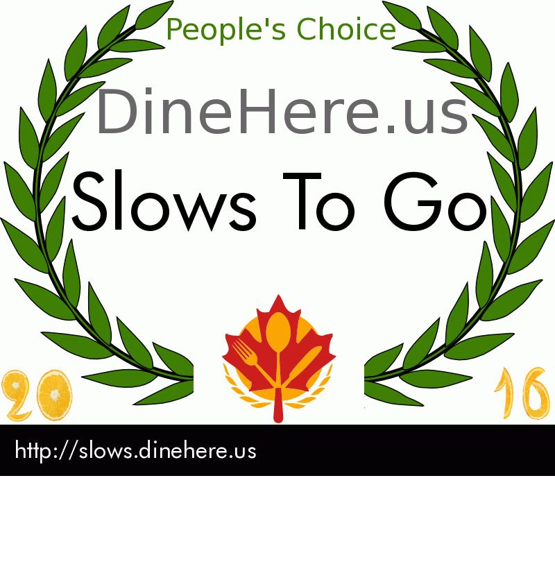Slows To Go DineHere.us 2016 Award Winner